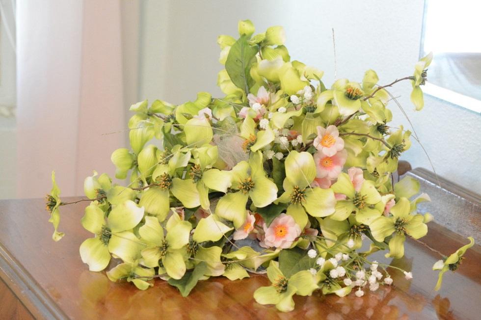 Custom Silk Flower Bouquet w/Apple Blossem Style Flowers