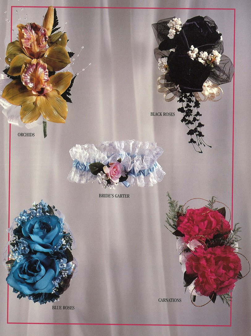 Two Flower Corsages & Garter
