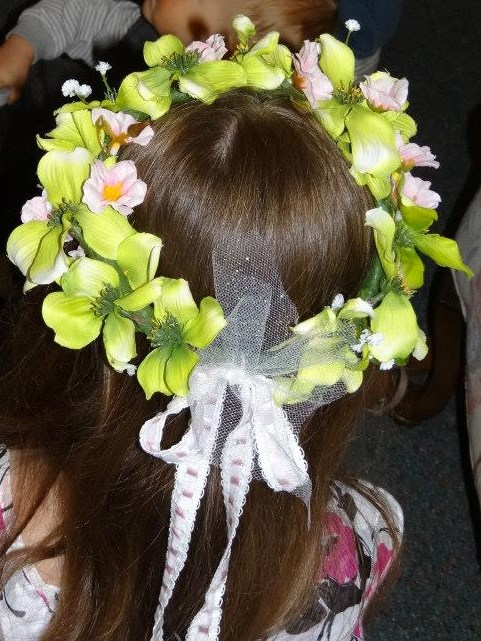 Custom Flower Girl Head Wreath w/ Ribbon Streamers