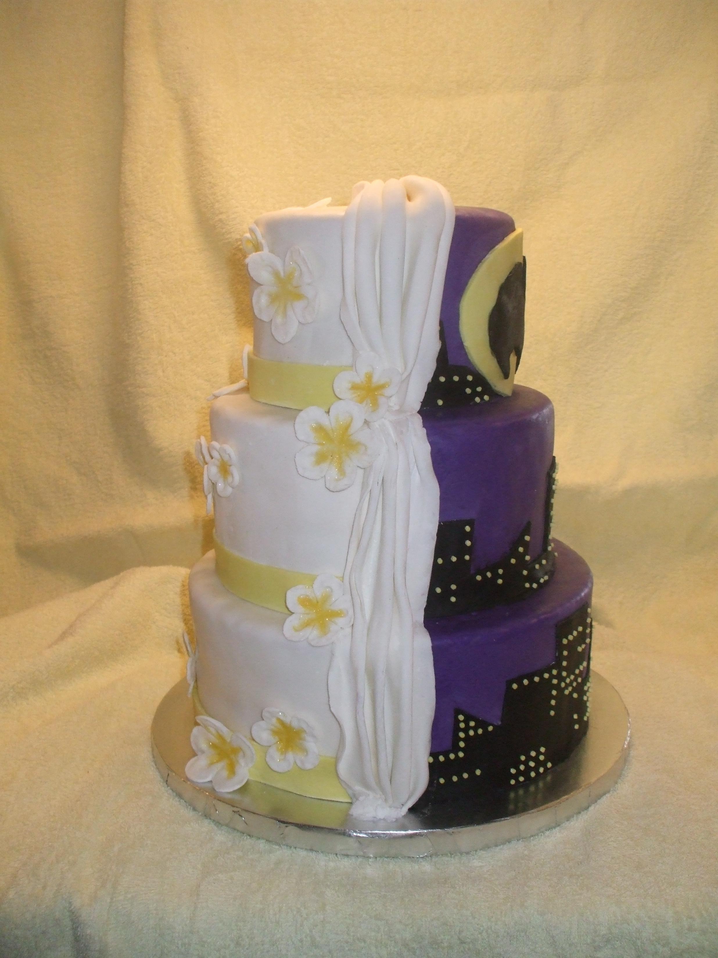 Custom Split Sided Wedding Cake w/Batman and Traditional Sides